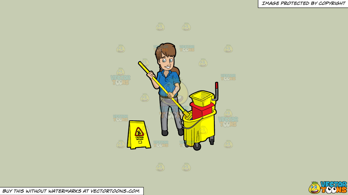 A Female Janitor Wringing Out A Mop On A Solid Pale Silver C6ccb2 Background thumbnail