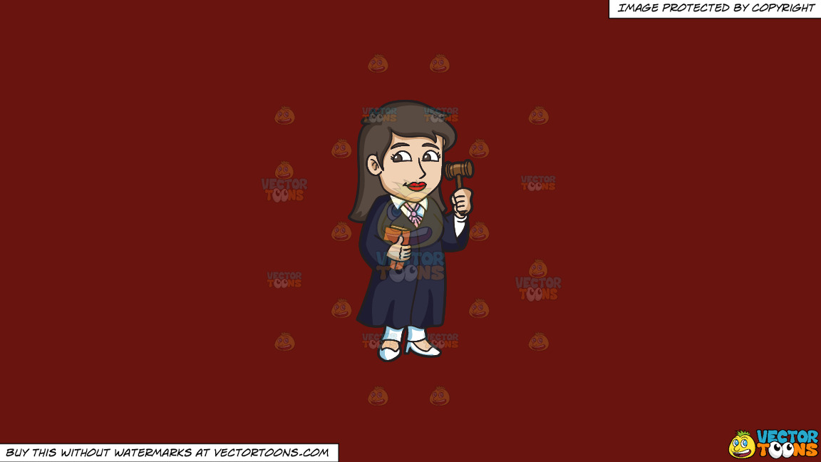 A Female Judge Holding A Gavel On A Solid Maroon 69140e Background thumbnail
