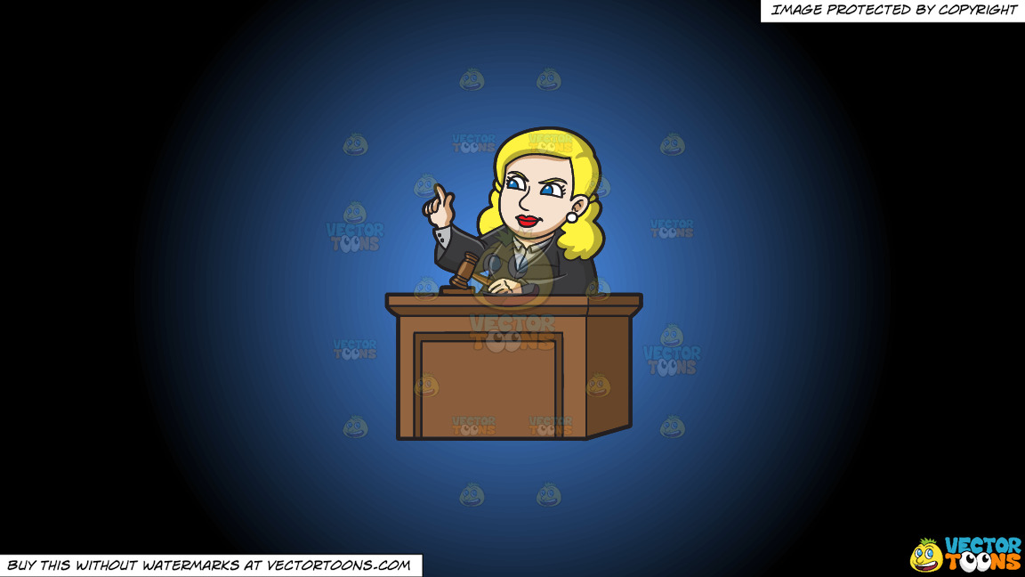 A Female Judge Ordering The Court On A Blue And Black Gradient Background thumbnail
