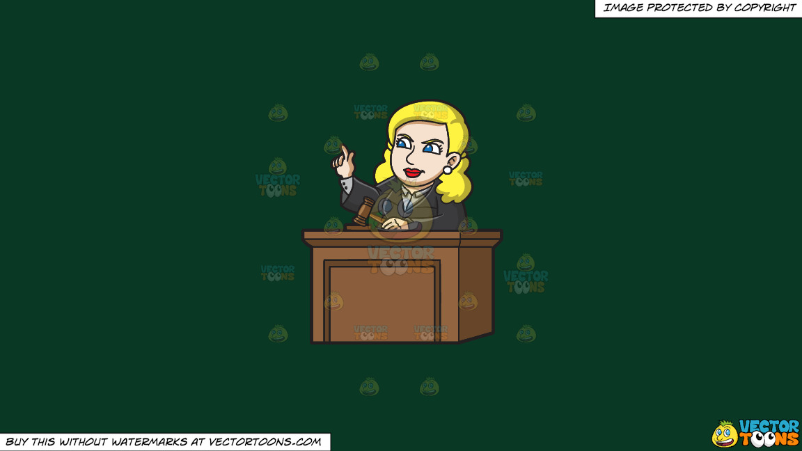 A Female Judge Ordering The Court On A Solid Dark Green 093824 Background thumbnail