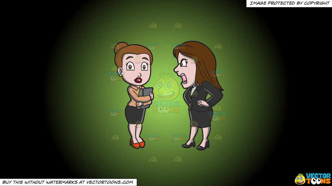 A Female Manager Scolding Her Assistant On A Green And Black Gradient Background thumbnail