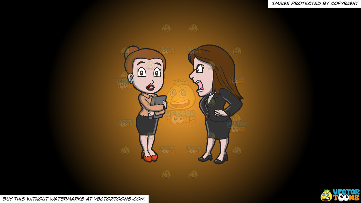 A Female Manager Scolding Her Assistant On A Orange And Black Gradient Background thumbnail