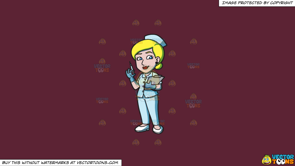 A Female Nurse Holding A Syringe On A Solid Red Wine 5b2333 Background thumbnail