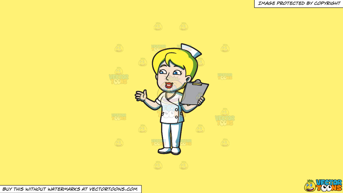 A Female Nurse With A Clipboard On A Solid Sunny Yellow Fff275 Background thumbnail