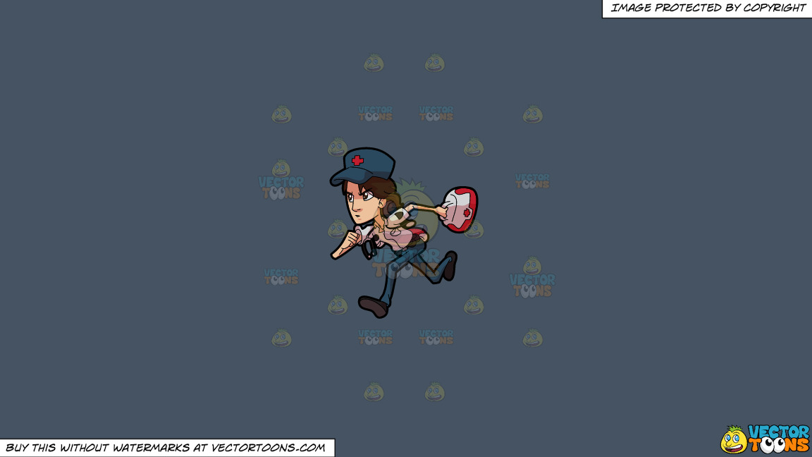 A Female Paramedic In A Rush On A Solid Metal Grey 465362 Background thumbnail
