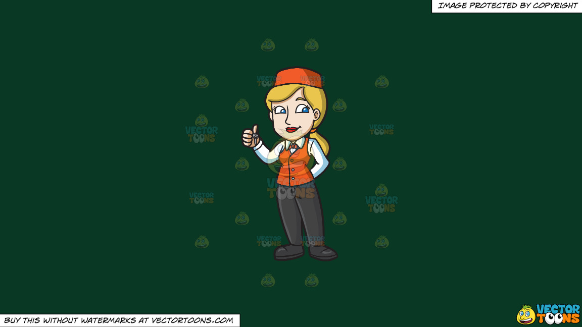 A Female Parking Valet Holding A Car Key On A Solid Dark Green 093824 Background thumbnail