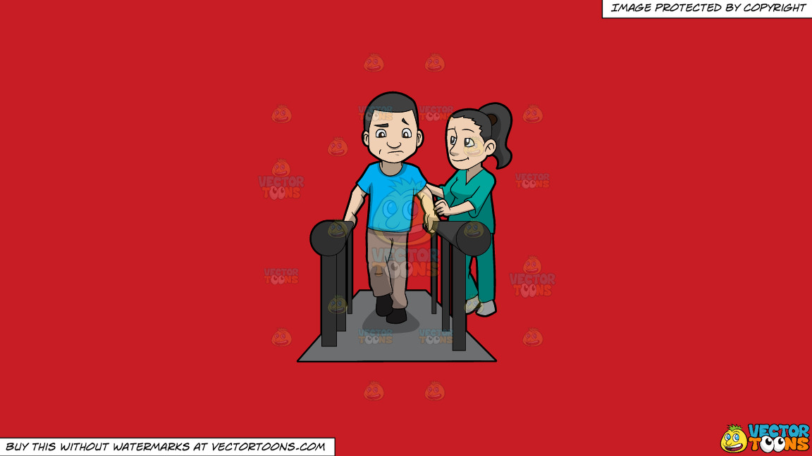 A Female Physical Therapist Helping A Male Patient Walk Again On A Solid Fire Engine Red C81d25 Background thumbnail