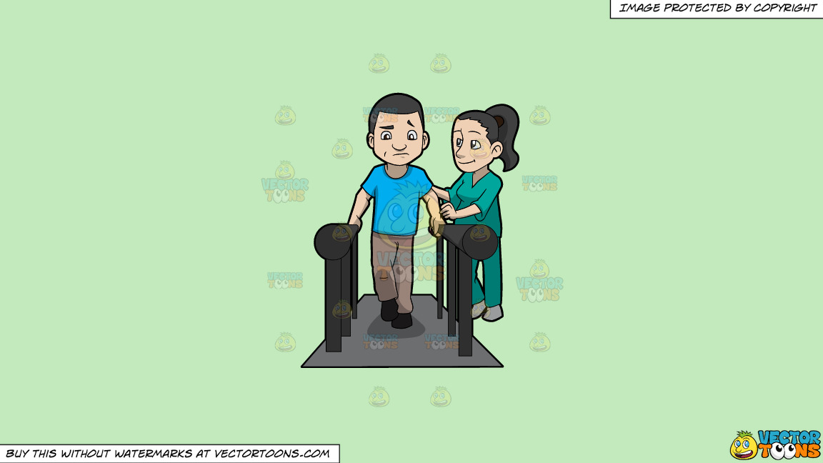 A Female Physical Therapist Helping A Male Patient Walk Again On A Solid Tea Green C2eabd Background thumbnail