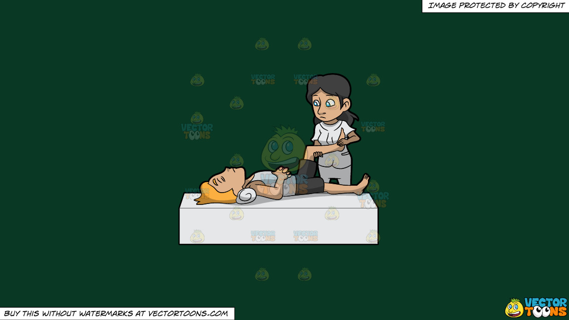 A Female Physical Therapist Helping A Man Move His Leg On A Solid Dark Green 093824 Background thumbnail