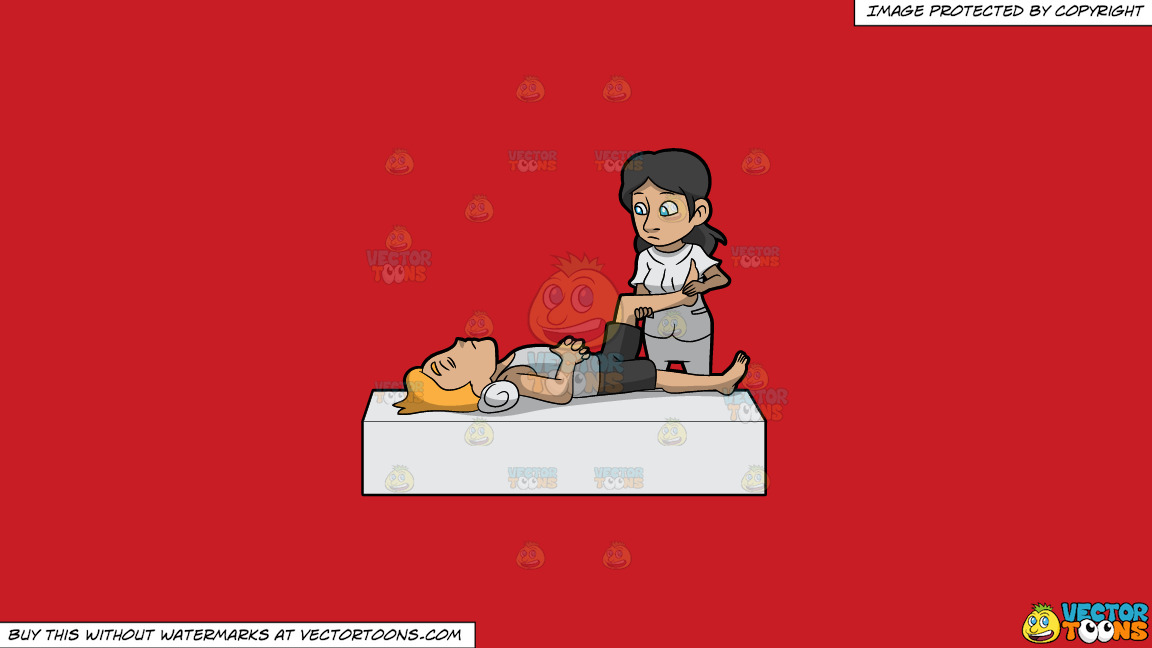 A Female Physical Therapist Helping A Man Move His Leg On A Solid Fire Engine Red C81d25 Background thumbnail