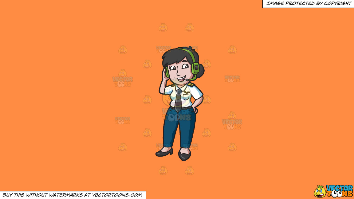 A Female Pilot Wearing A Headset On A Solid Mango Orange Ff8c42 Background thumbnail