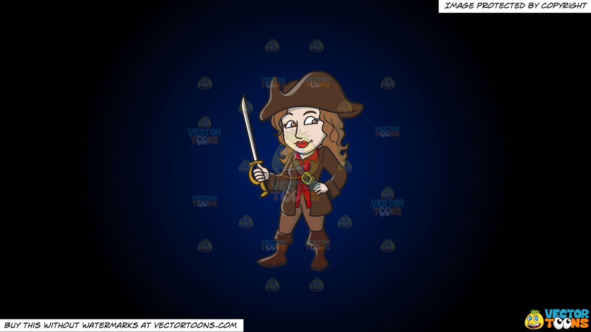 A Female Pirate Holding A Sword On A Dark Blue And Black Gradient Background thumbnail