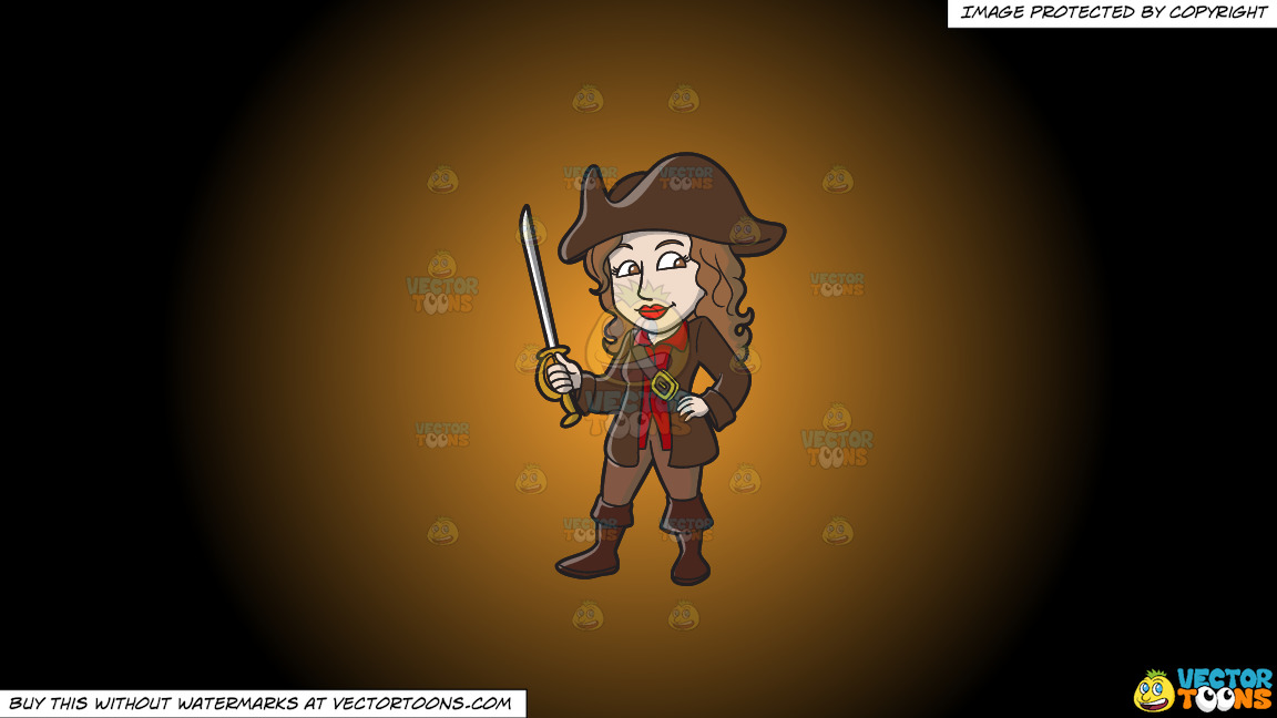 A Female Pirate Holding A Sword On A Orange And Black Gradient Background thumbnail