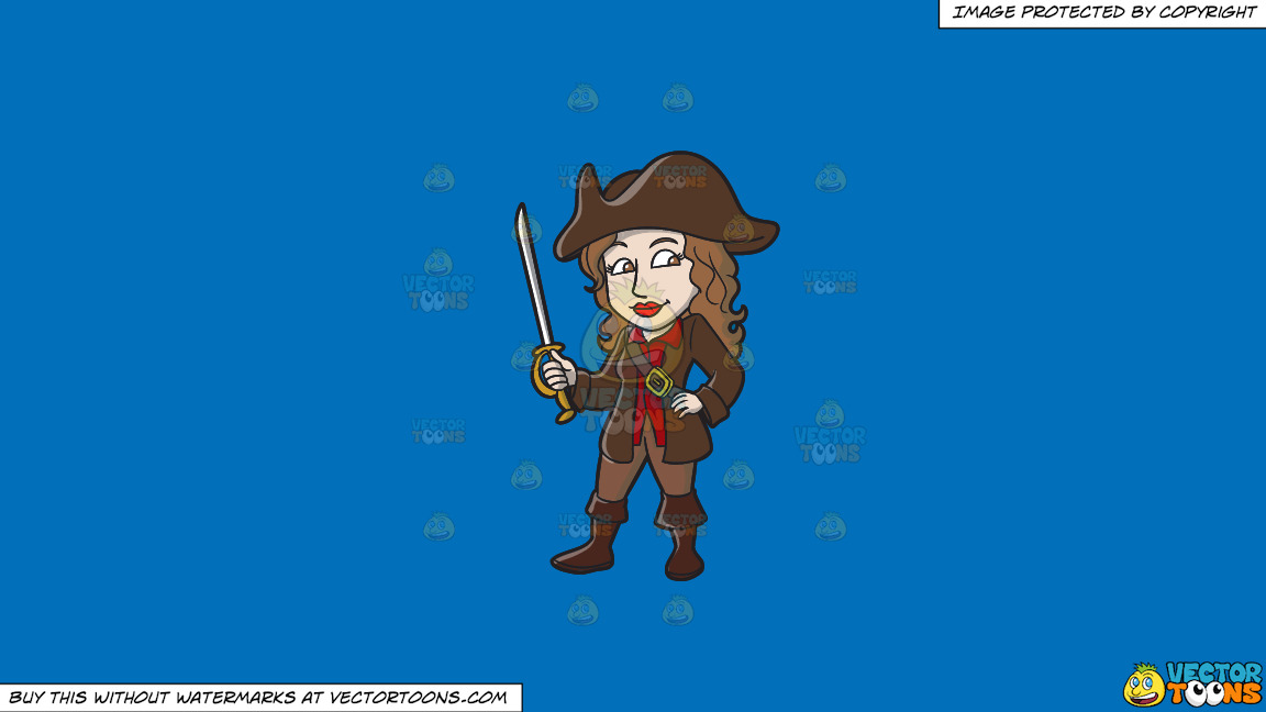 A Female Pirate Holding A Sword On A Solid Spanish Blue 016fb9 Background thumbnail