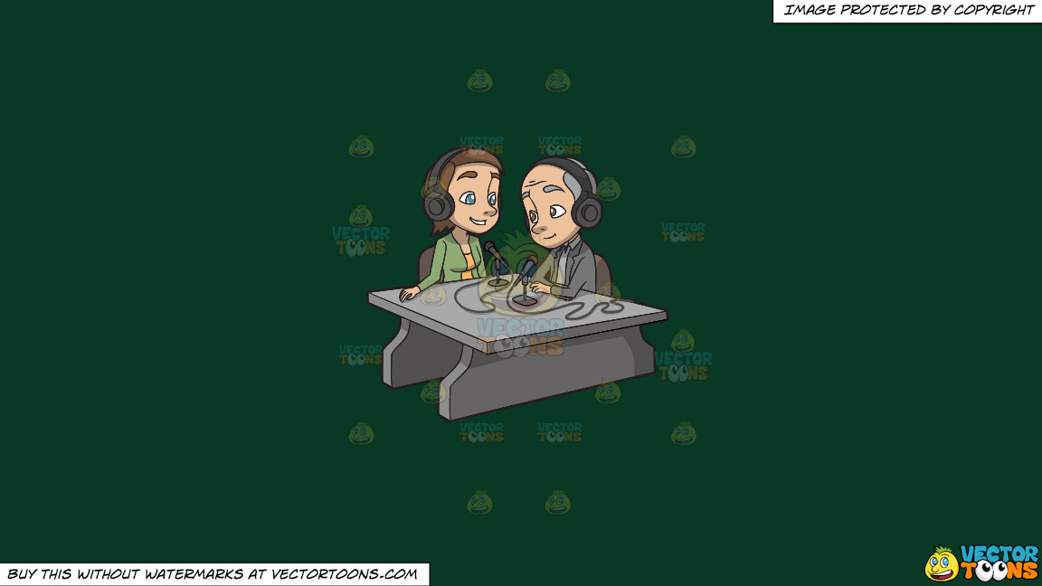 A Female Podcast Host Interviewing A Guest On A Solid Dark Green 093824 Background thumbnail
