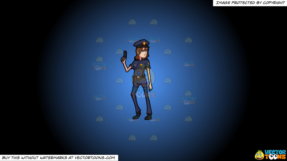A Female Police Officer Posing With Her Handgun On A Blue And Black Gradient Background thumbnail