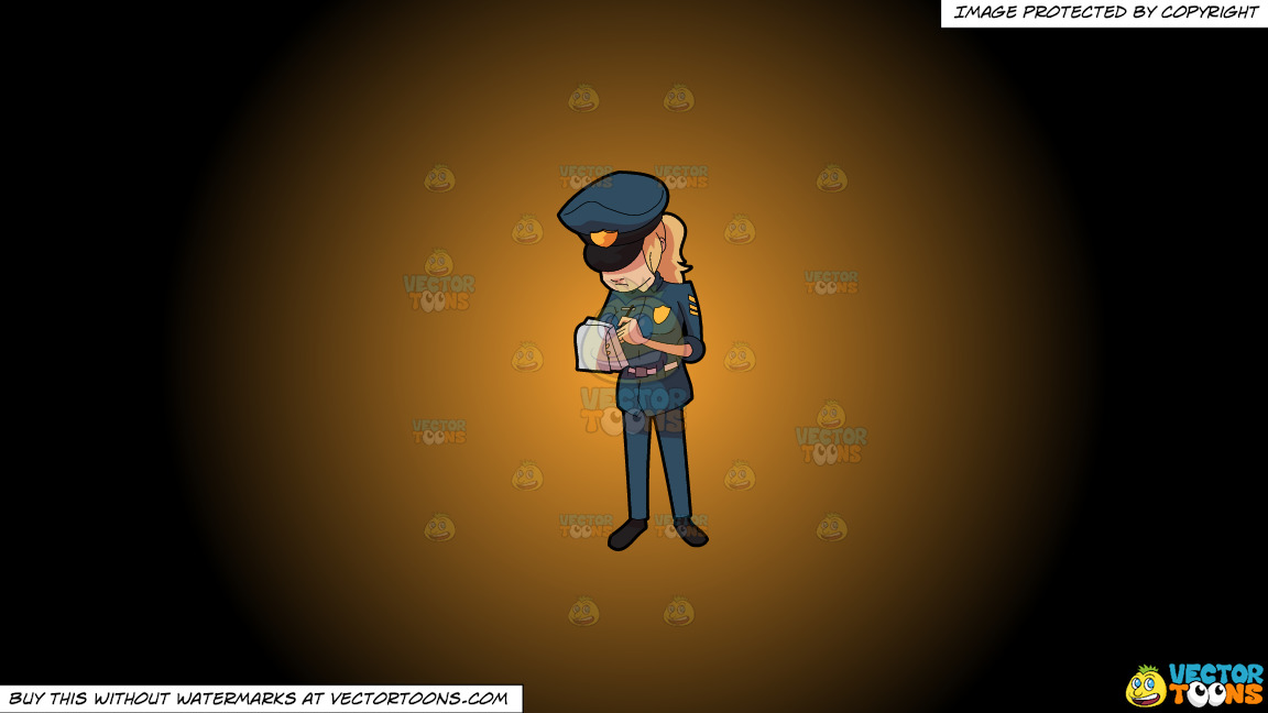 A Female Police Officer Writing Down A Ticket On A Orange And Black Gradient Background thumbnail