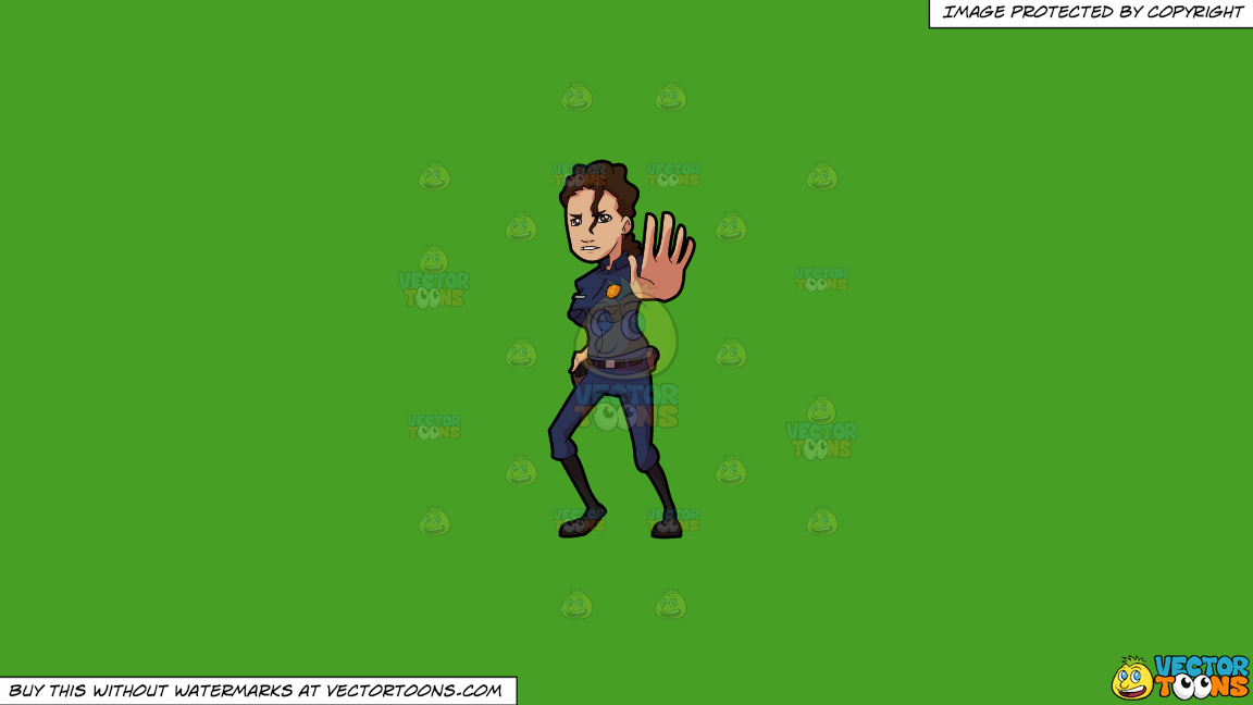 A Female Police Stopping Something At A Check Point On A Solid Kelly Green 47a025 Background thumbnail