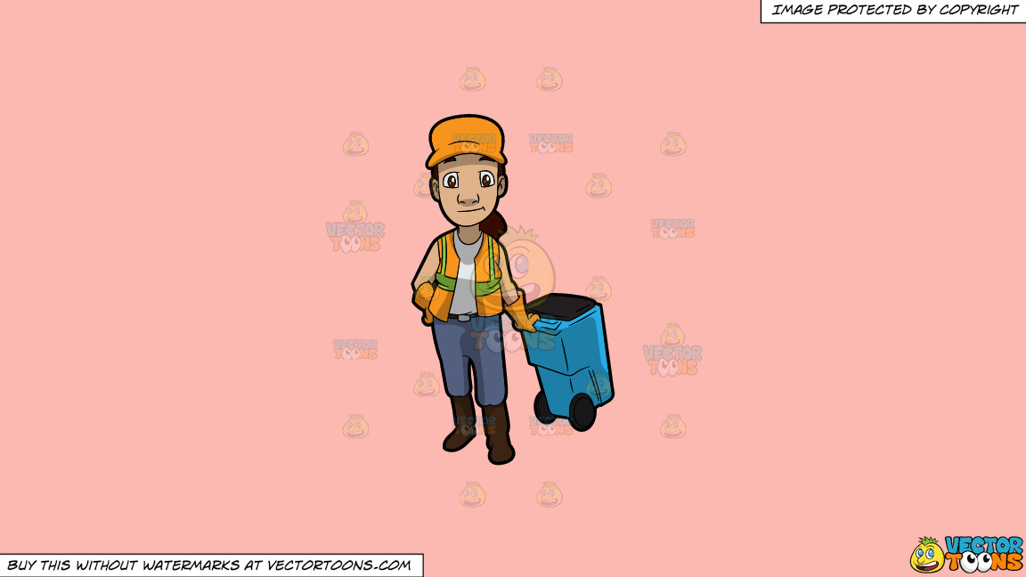 A Female Sanitation Worker Pulling A Garbage Bin On A Solid Melon Fcb9b2 Background thumbnail