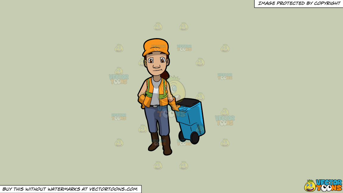 A Female Sanitation Worker Pulling A Garbage Bin On A Solid Pale Silver C6ccb2 Background thumbnail