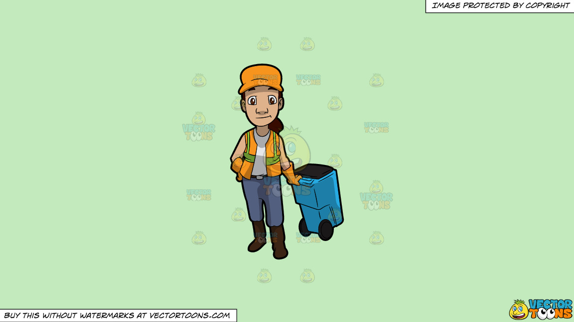 A Female Sanitation Worker Pulling A Garbage Bin On A Solid Tea Green C2eabd Background thumbnail