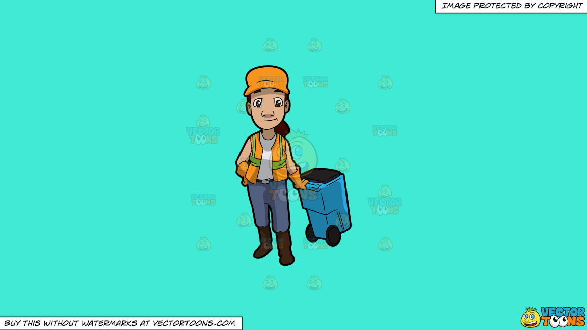 A Female Sanitation Worker Pulling A Garbage Bin On A Solid Turquiose 41ead4 Background thumbnail