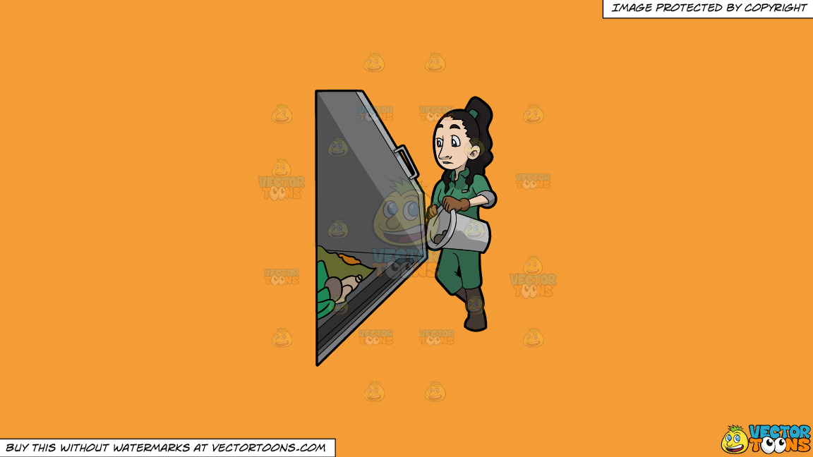 A Female Sanitation Worker Throwing The Contents Of A Can Into The Truck On A Solid Deep Saffron Gold F49d37 Background thumbnail