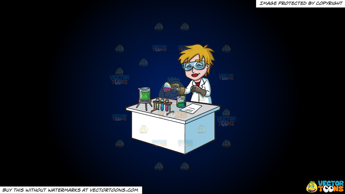 A Female Scientist Combining Mixtures During An Experiment On A Dark Blue And Black Gradient Background thumbnail