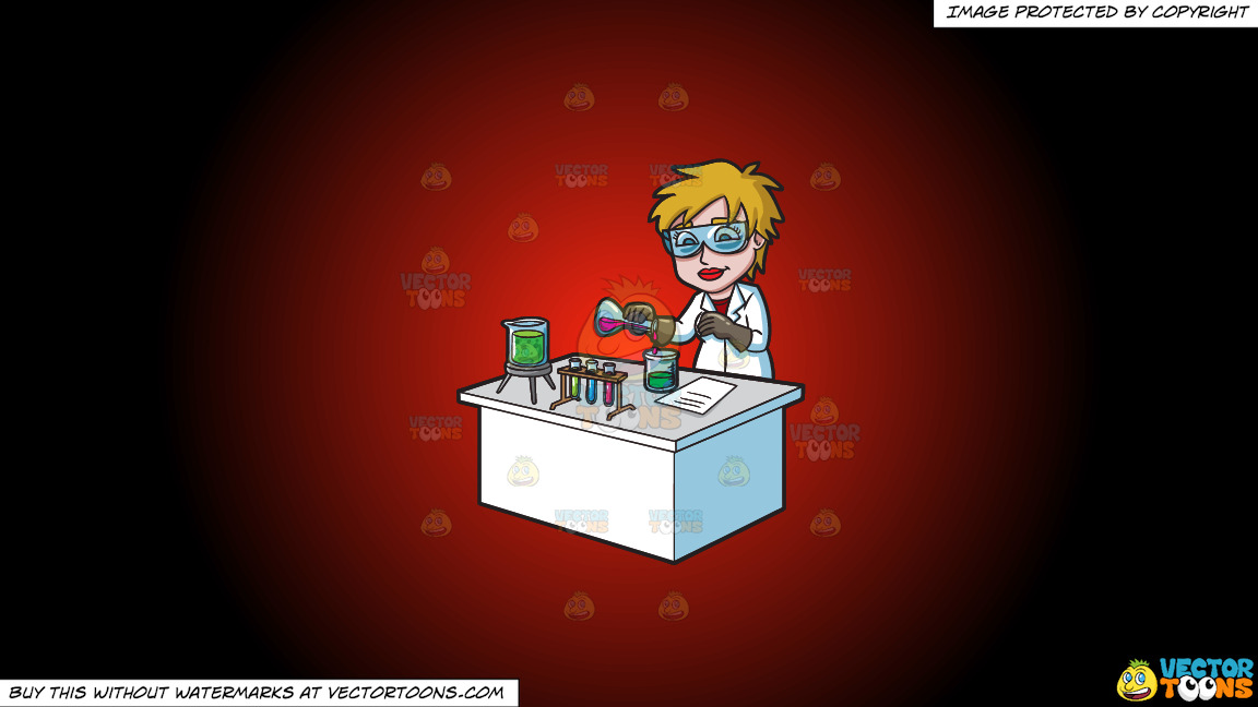 A Female Scientist Combining Mixtures During An Experiment On A Red And Black Gradient Background thumbnail