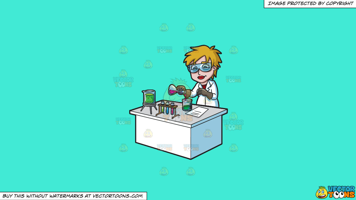 A Female Scientist Combining Mixtures During An Experiment On A Solid Turquiose 41ead4 Background thumbnail