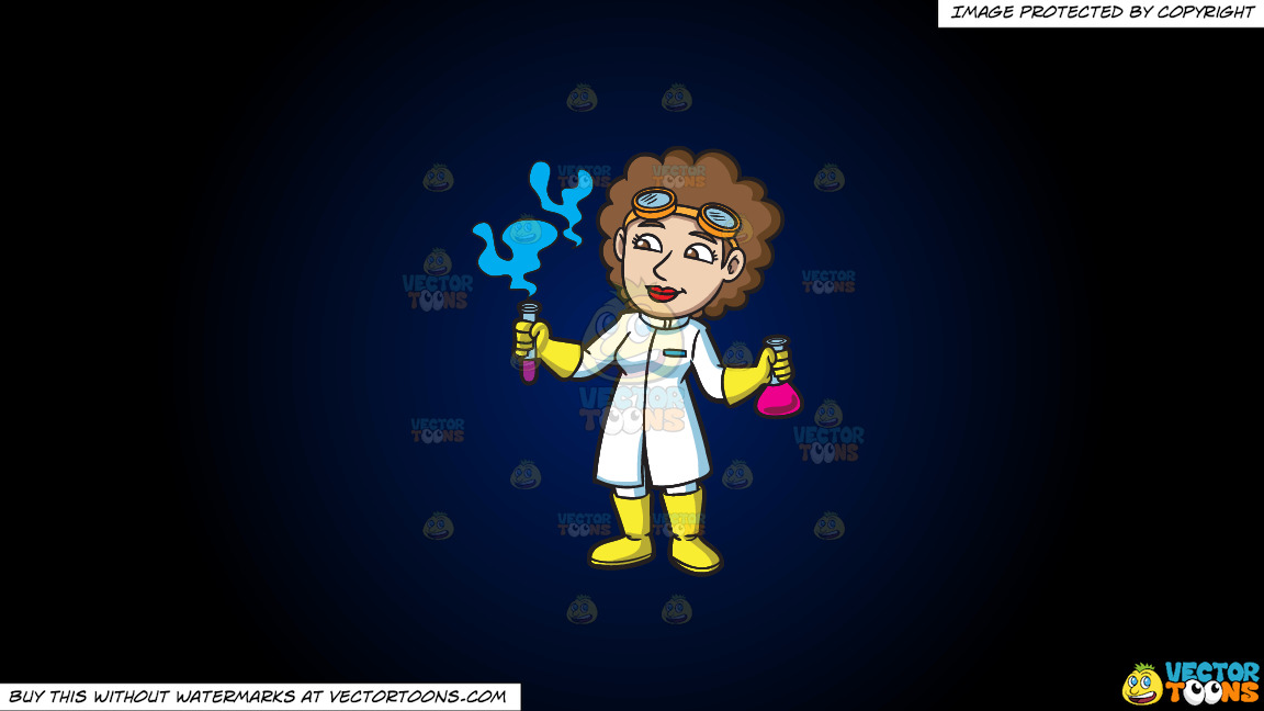 A Female Scientist Looking At The Fumes From A Test Tube On A Dark Blue And Black Gradient Background thumbnail