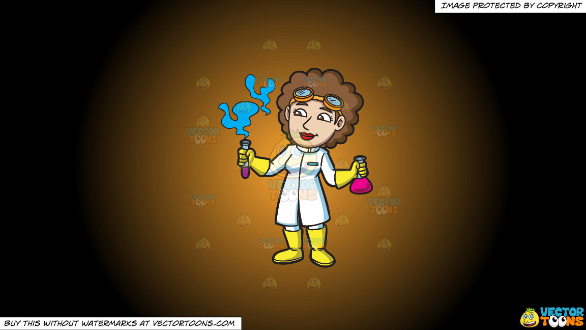 A Female Scientist Looking At The Fumes From A Test Tube On A Orange And Black Gradient Background thumbnail