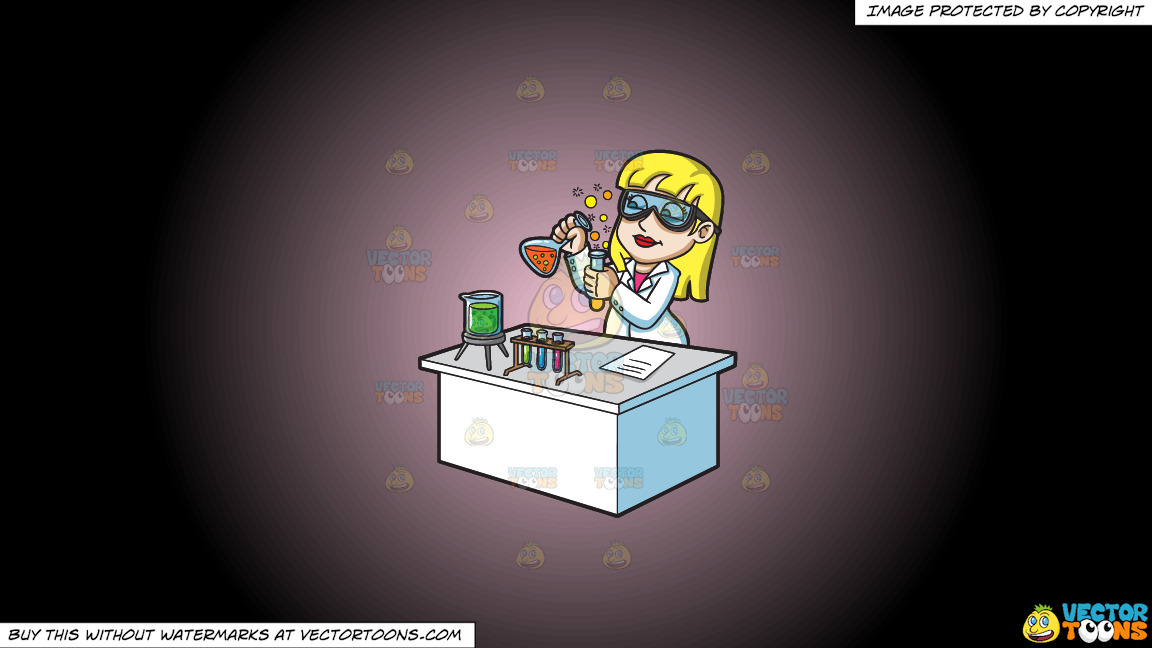 A Female Scientist Mixing Chemicals On A Pink And Black Gradient Background thumbnail