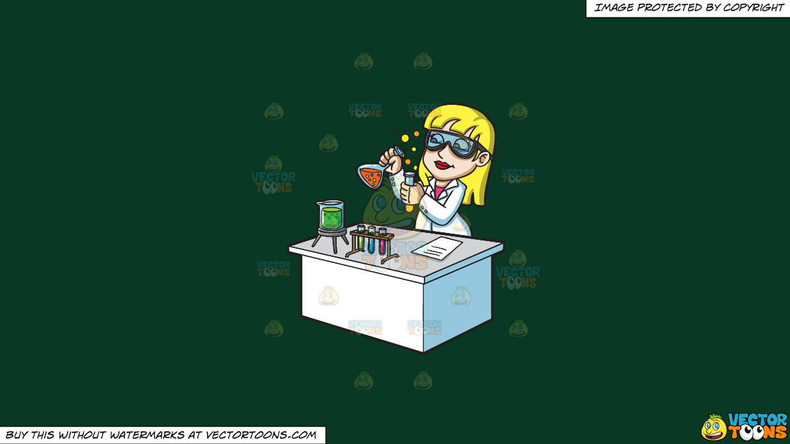 A Female Scientist Mixing Chemicals On A Solid Dark Green 093824 Background thumbnail