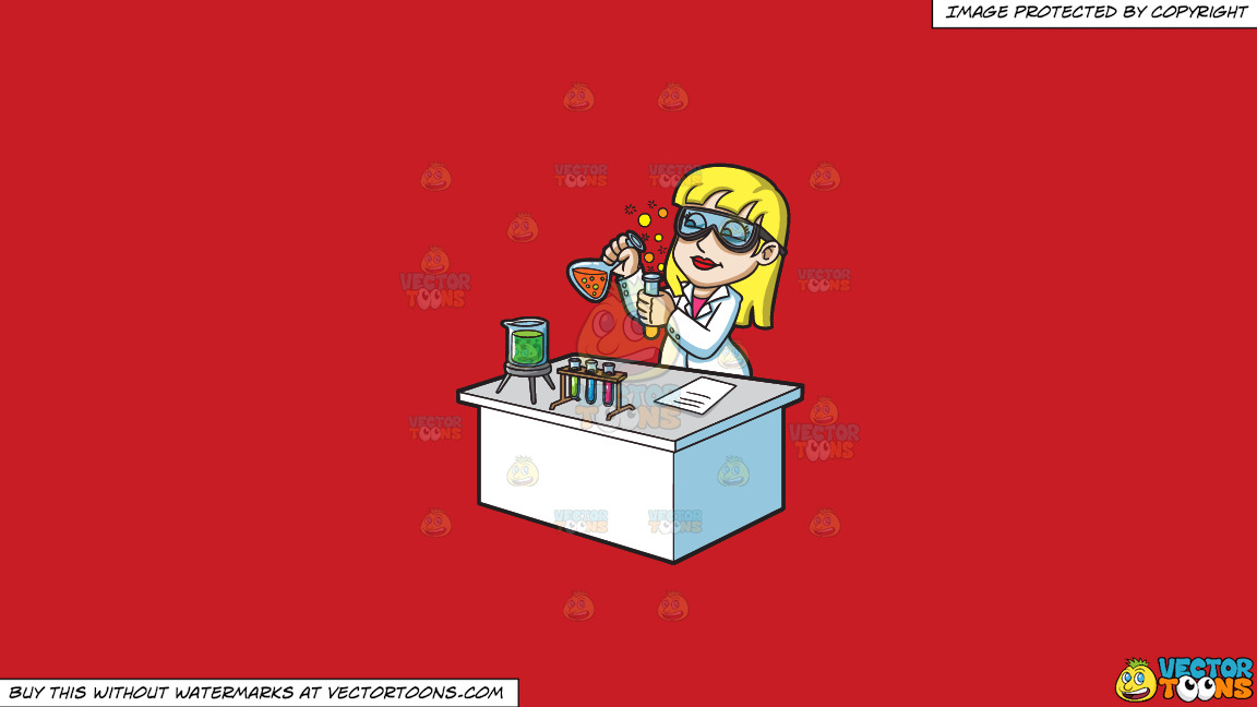 A Female Scientist Mixing Chemicals On A Solid Fire Engine Red C81d25 Background thumbnail