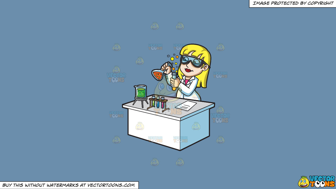 A Female Scientist Mixing Chemicals On A Solid Shadow Blue 6c8ead Background thumbnail