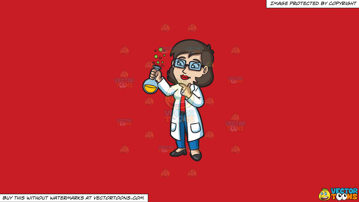 A Female Scientist On A Solid Fire Engine Red C81d25 Background thumbnail