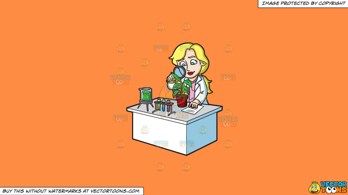 A Female Scientist Studying Plants On A Solid Mango Orange Ff8c42 Background thumbnail