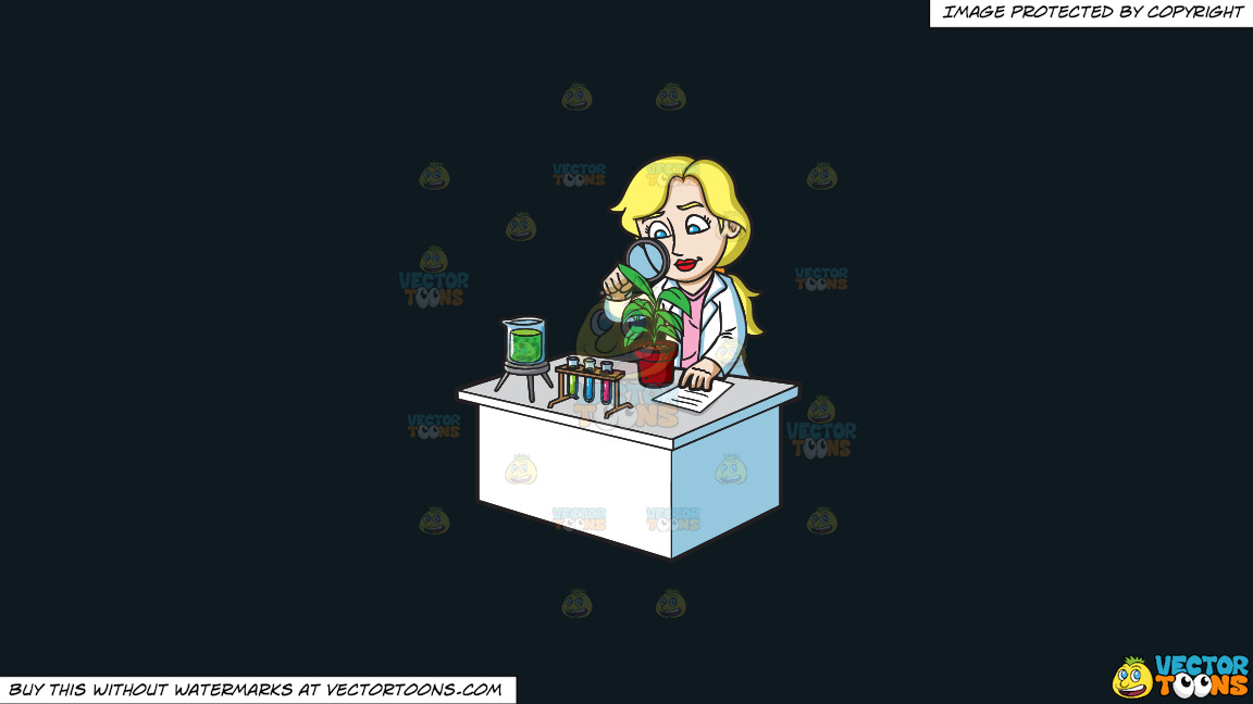 A Female Scientist Studying Plants On A Solid Off Black 0f1a20 Background thumbnail