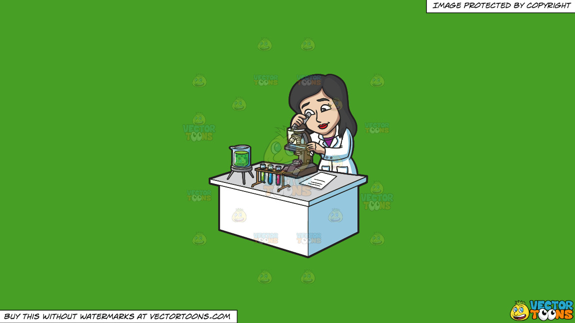 A Female Scientist Studying Something Under A Microscope On A Solid Kelly Green 47a025 Background thumbnail