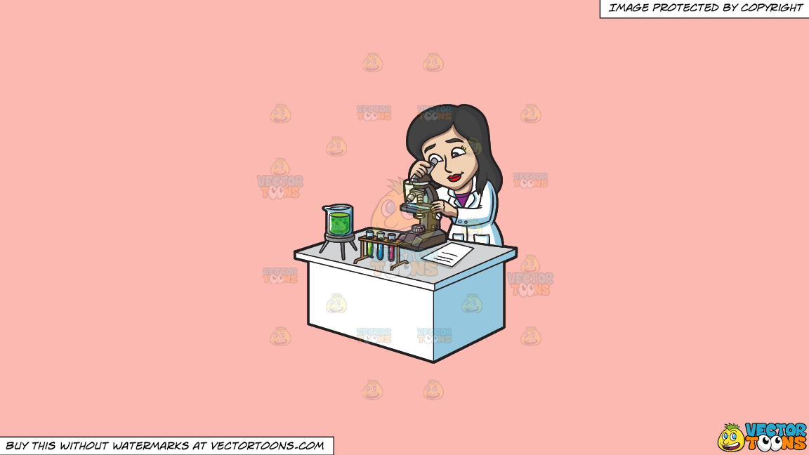 A Female Scientist Studying Something Under A Microscope On A Solid Melon Fcb9b2 Background thumbnail