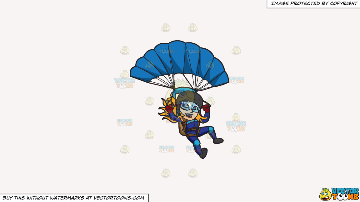 A Female Skydiver Landing With Her Parachute On A Solid White Smoke F7f4f3 Background thumbnail