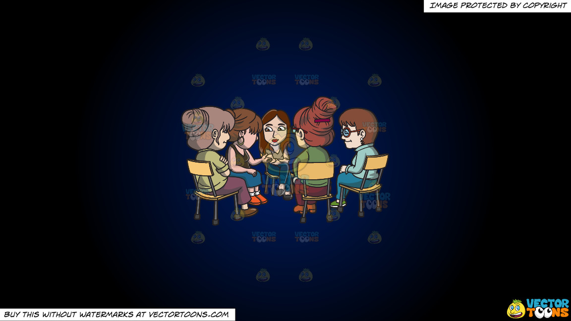 A Female Support Group Session On A Dark Blue And Black Gradient Background thumbnail