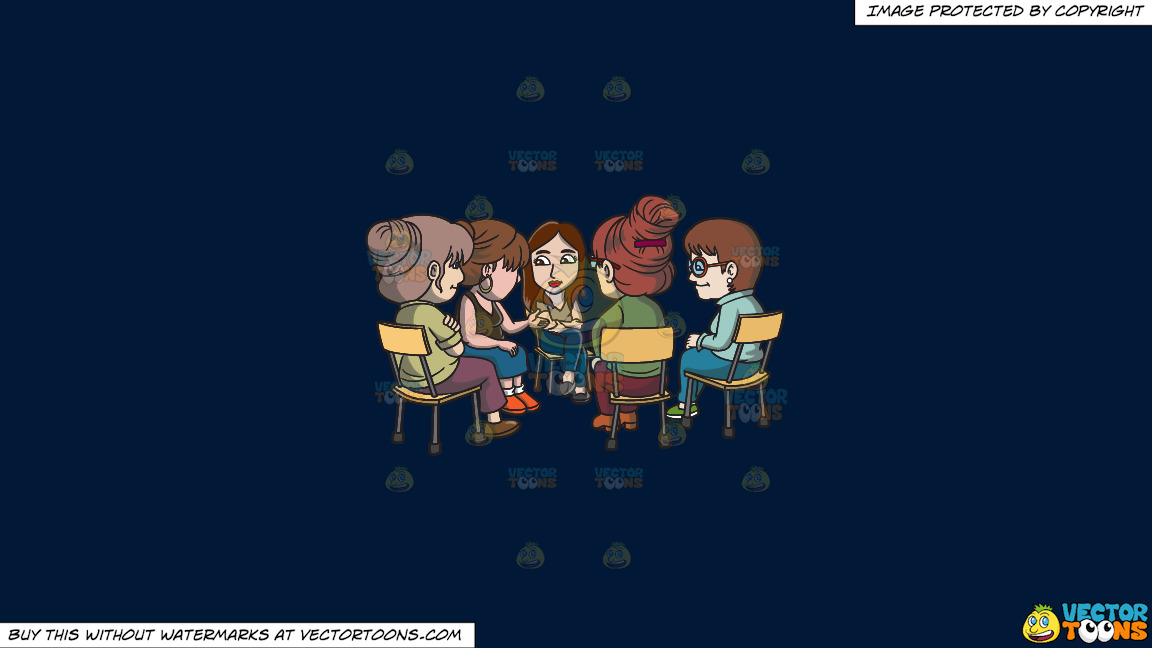 A Female Support Group Session On A Solid Dark Blue 011936 Background thumbnail