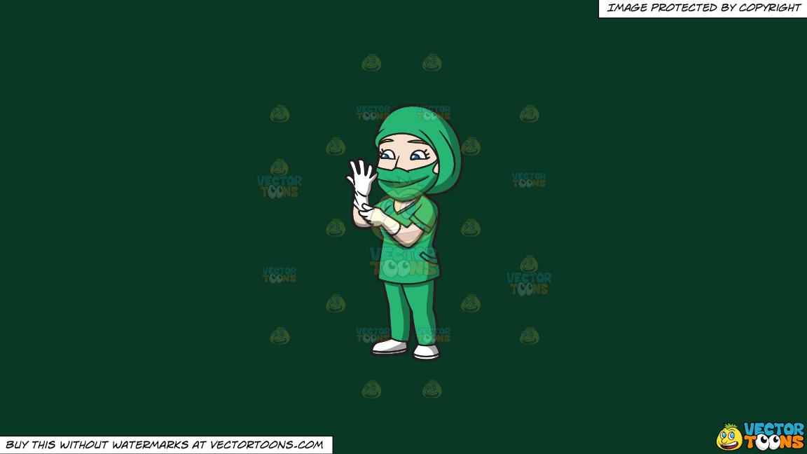A Female Surgeon Getting Ready For An Operation On A Solid Dark Green 093824 Background thumbnail