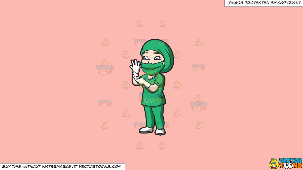 A Female Surgeon Getting Ready For An Operation On A Solid Melon Fcb9b2 Background thumbnail