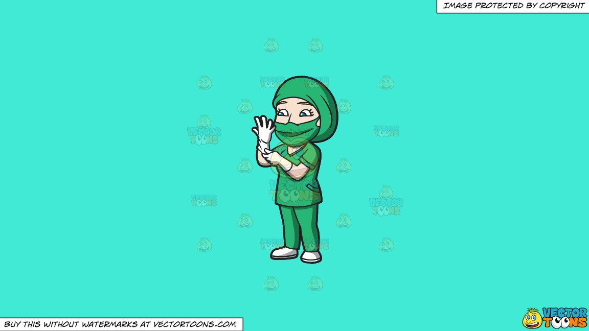 A Female Surgeon Getting Ready For An Operation On A Solid Turquiose 41ead4 Background thumbnail