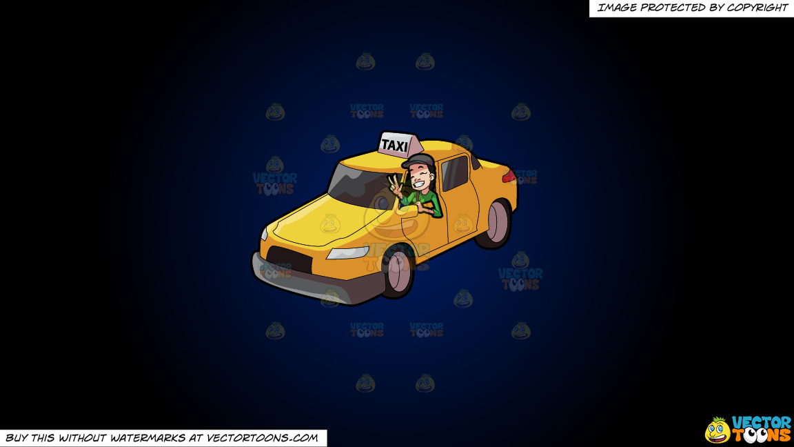 A Female Taxi Driver Gesturing A Victory Sign On A Dark Blue And Black Gradient Background thumbnail