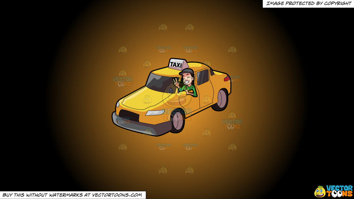 A Female Taxi Driver Gesturing A Victory Sign On A Orange And Black Gradient Background thumbnail