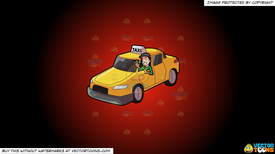 A Female Taxi Driver Gesturing A Victory Sign On A Red And Black Gradient Background thumbnail